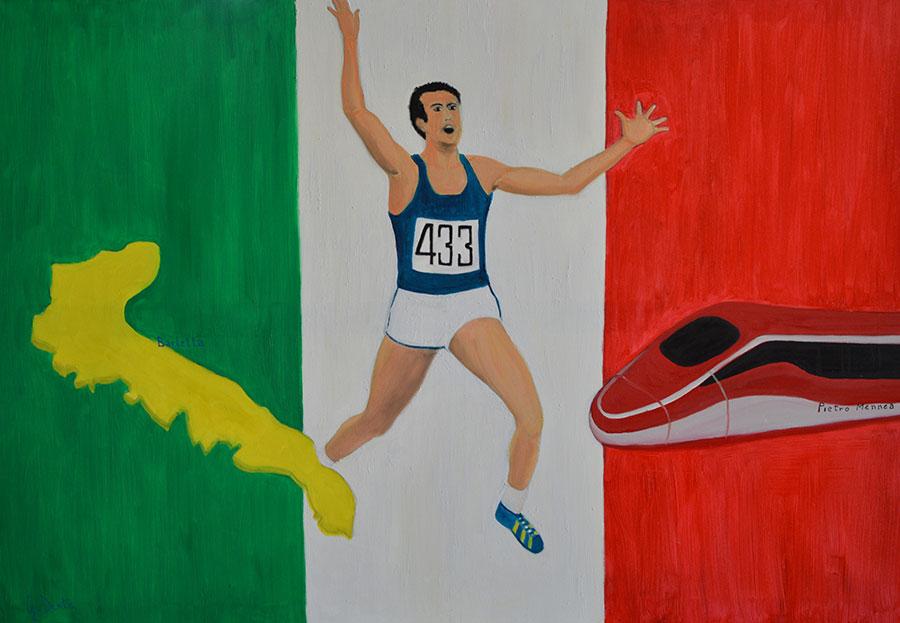 Pietro MENNEA UNA VITA IN CORSA olio su tela cm.70x100